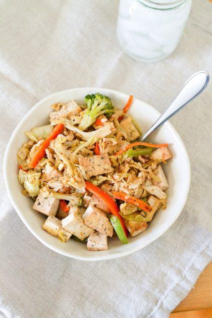 Tofu Cabbage Noodle Bowl
