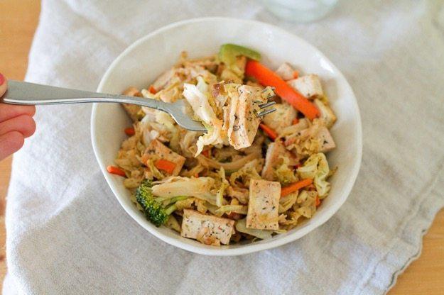 Tofu Veggie Noodle Bowl with Cabbage Noodles