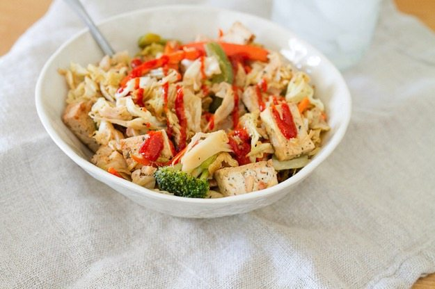 Tofu Veggie Noodle Bowl with Cabbage Noodles with Sriracha