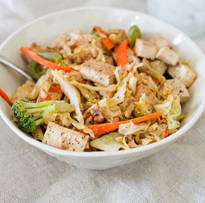 Tofu Veggie Noodle Bowl with Cabbage Noodles