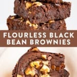 Flourless black bean brownies topped with walnuts and chocolate chips.