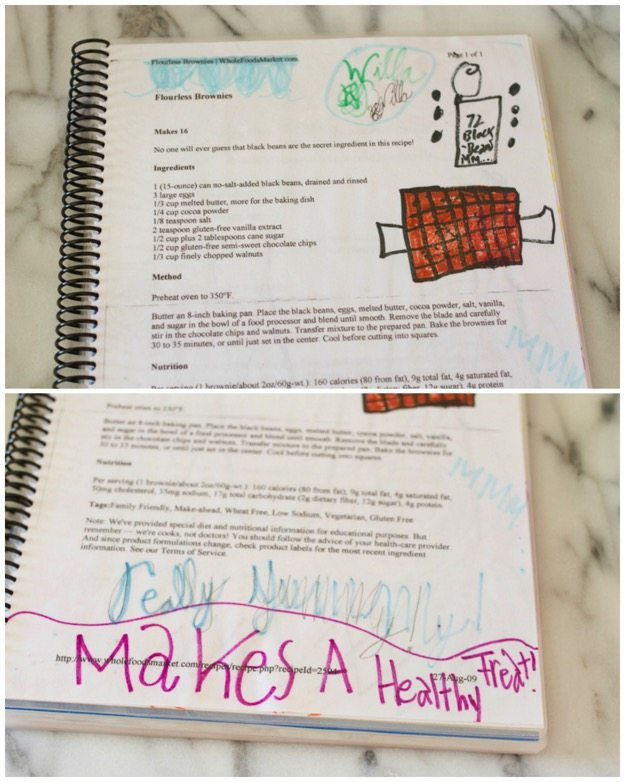Recipe book from childhood with doodles and words written by a kid.