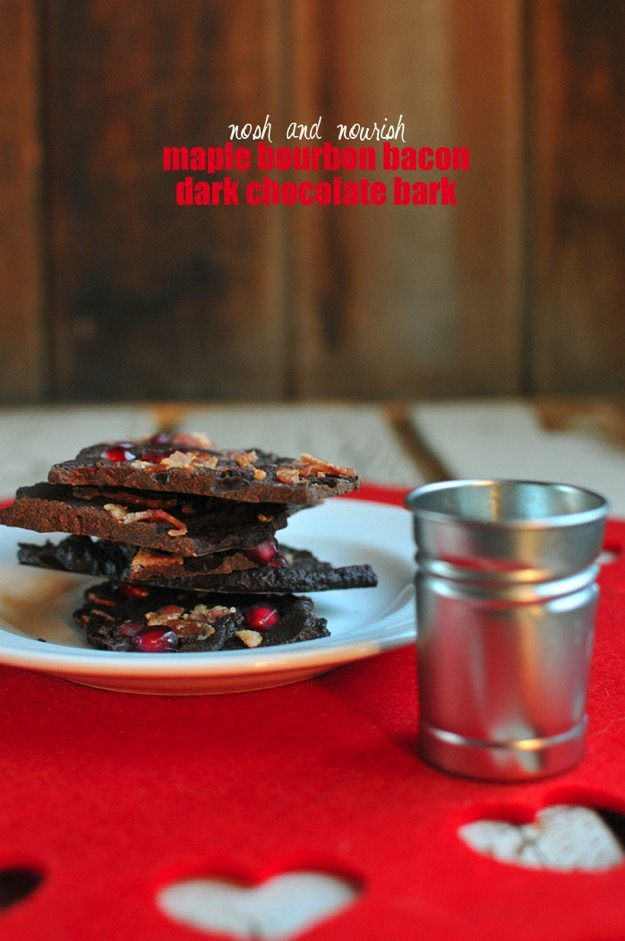Maple Bourbon Bacon Dark Chocolate Bark with Pomegranates