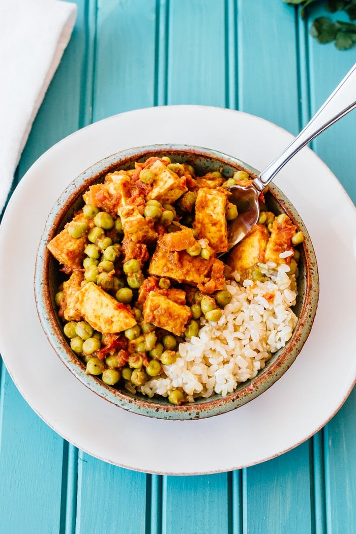 This mattar tofu is a healthy, vegan version of an Indian food classic, mattar paneer. Tofu works perfectly as a sub for the paneer cheese.