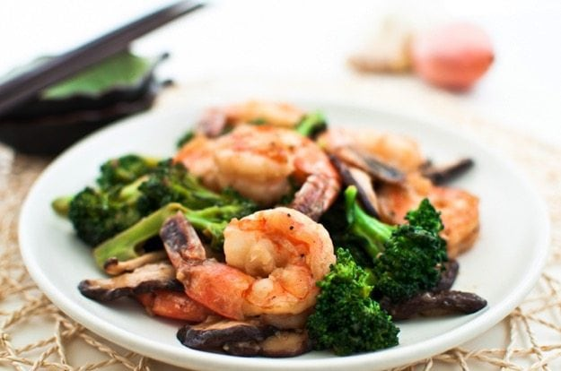 Shrimp, Broccoli and Shiitake Mushroom Stir-Fry on white plate