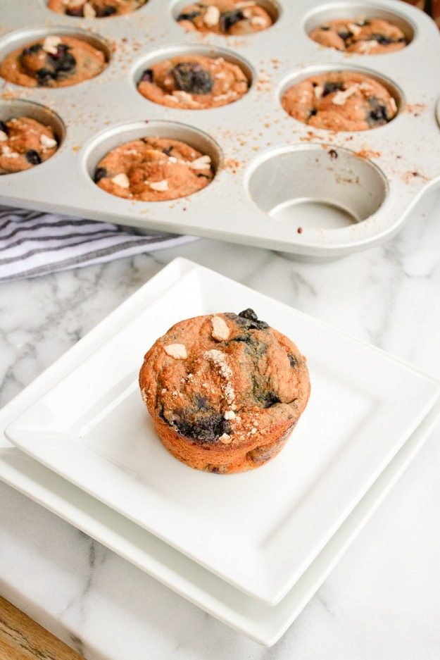 Blueberry Almond Muffins -- higher in protein, low in fat and only 100 ...