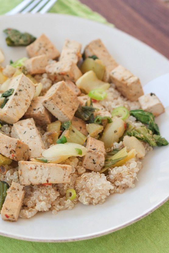 Stir-Fried Bok Choy And Mizuna With Tofu Recipe — Dishmaps