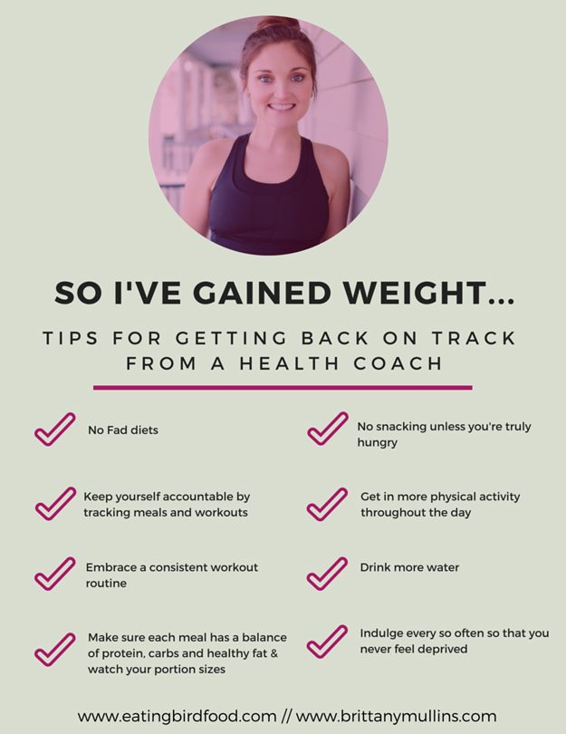 Graphic of tips from a health coach about what to do when you gain weight back that you had previously lost.