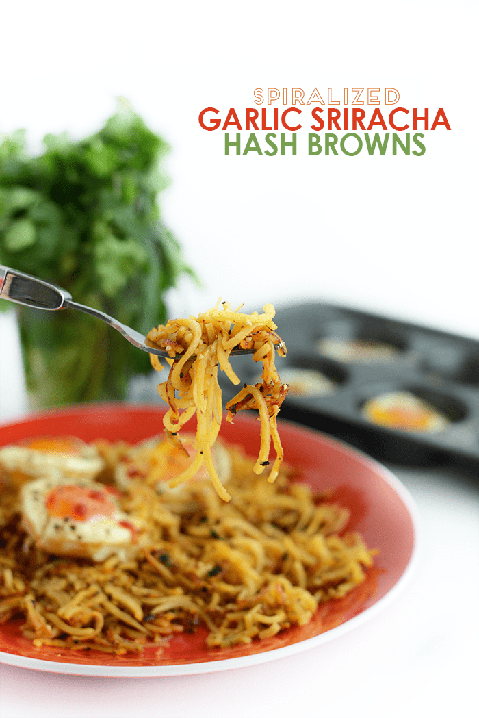 Spiralized Garlic Sriracha Hash Browns