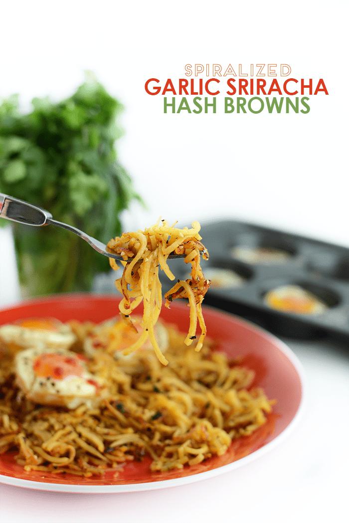 Spiralized Garlic Sriracha Hash Browns