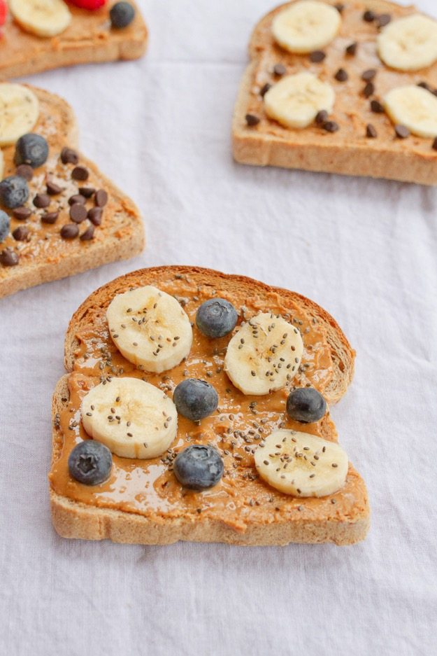 Banana Blueberry Chia Seed Peanut Butter Toast