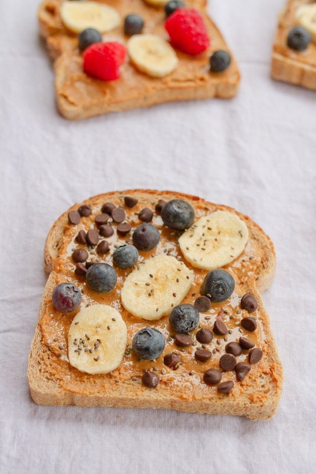 Banana Blueberry Chocolate Chia Seed Peanut Butter Toast