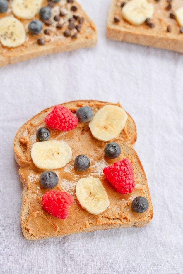 Banana Blueberry Raspberry Peanut Butter Toast