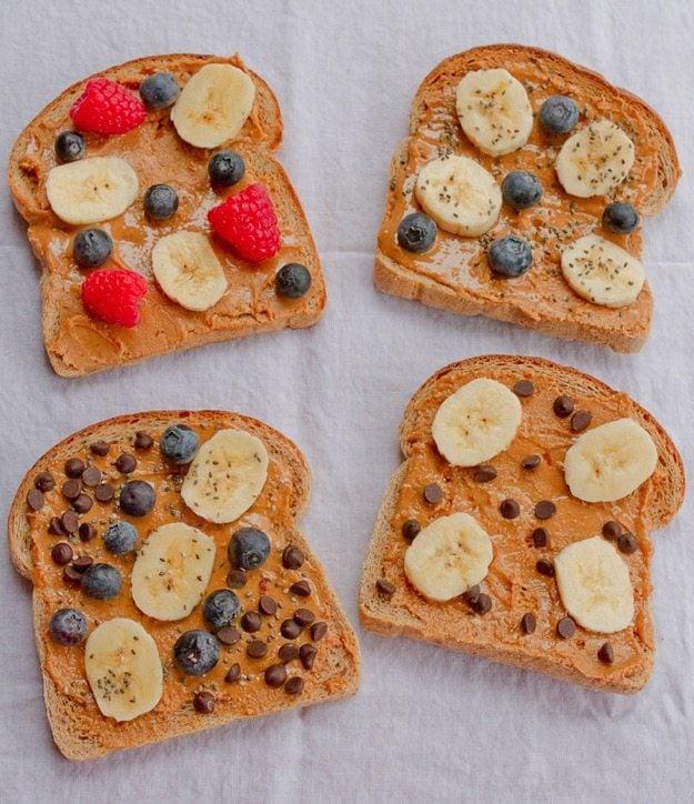 Peanut Butter Breakfast Toast 4 Ways