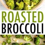 Bowl of roasted broccoli, and a sheet pan with roasted broccoli.