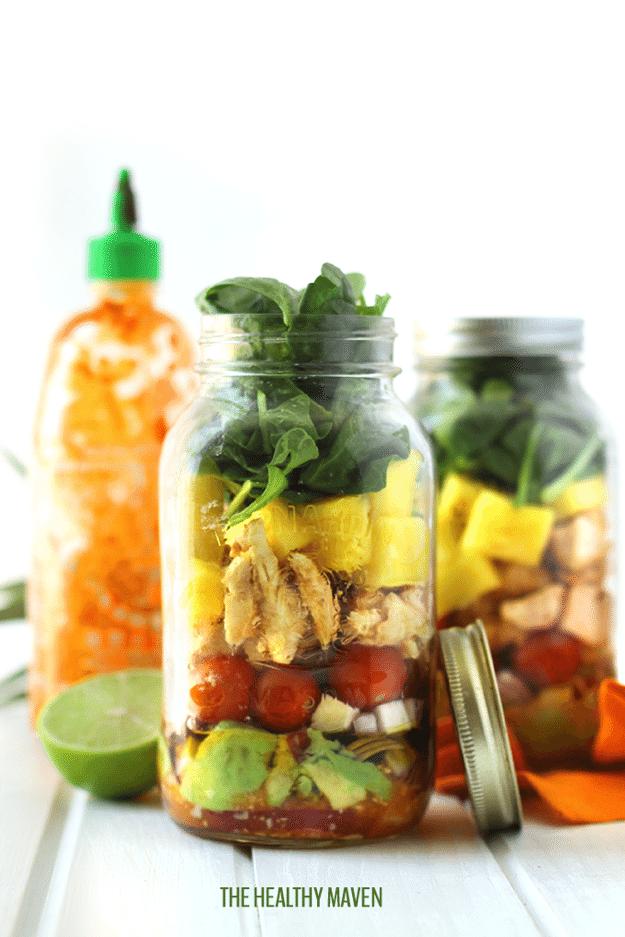 Tropical Sriracha Chicken Mason Jar Salad