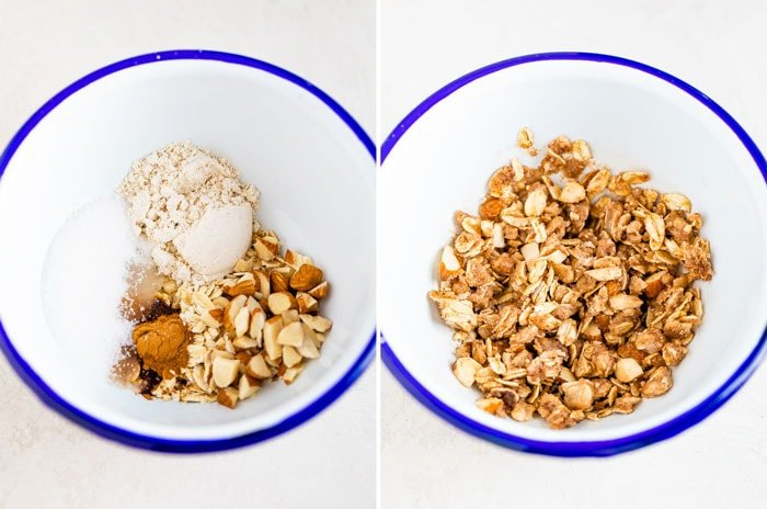 Showing ingredients for the oatmeal crumble topping in a white enamel bowl.