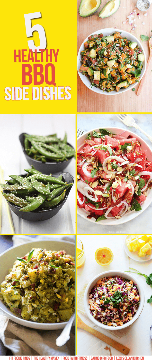 A collage of 5 Healthy BBQ Side Dishes.