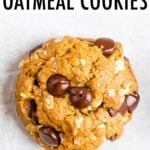 One peanut butter oatmeal cookie with chocolate chips and coconut flakes.