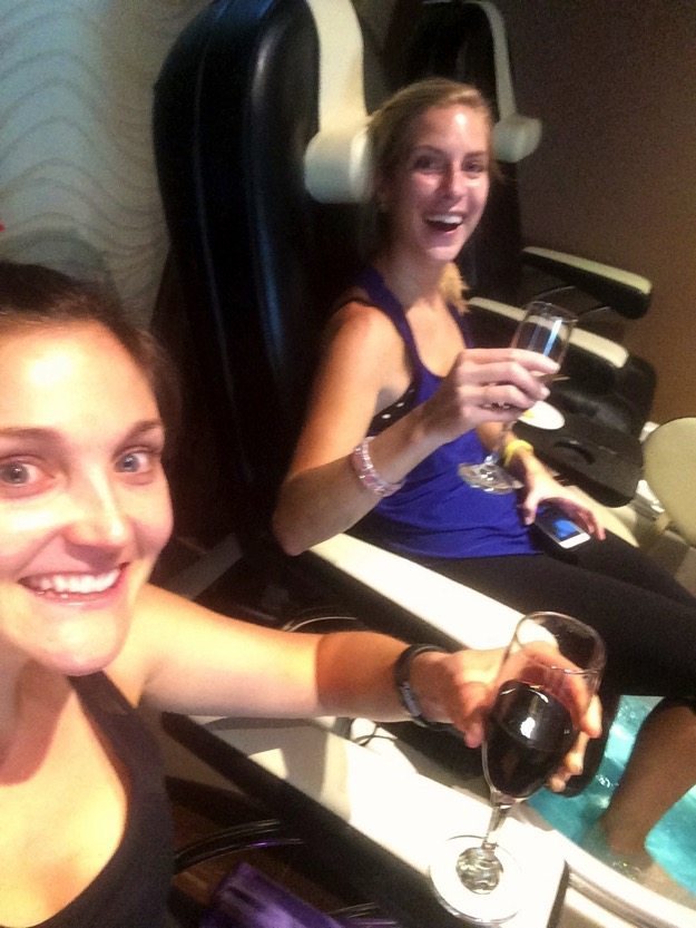 pedicure and wine