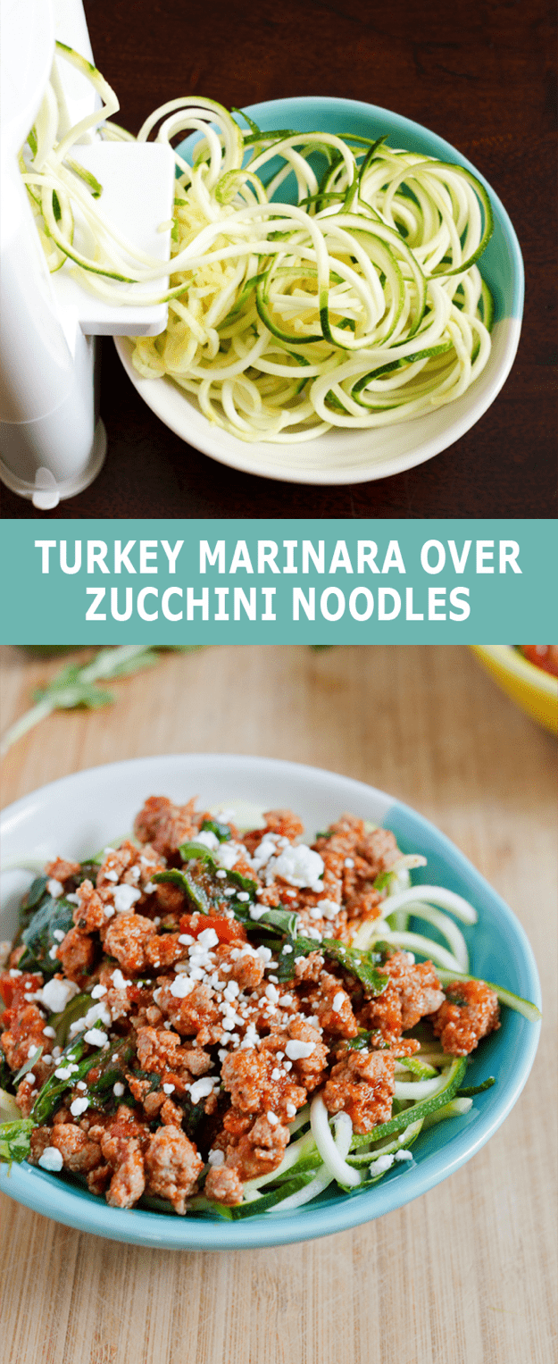 Turkey Marinara over Zucchini Noodles