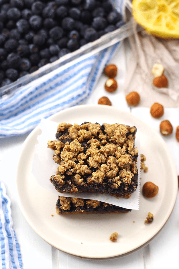 Paleo Blueberry Hazelnut Crumb Bars