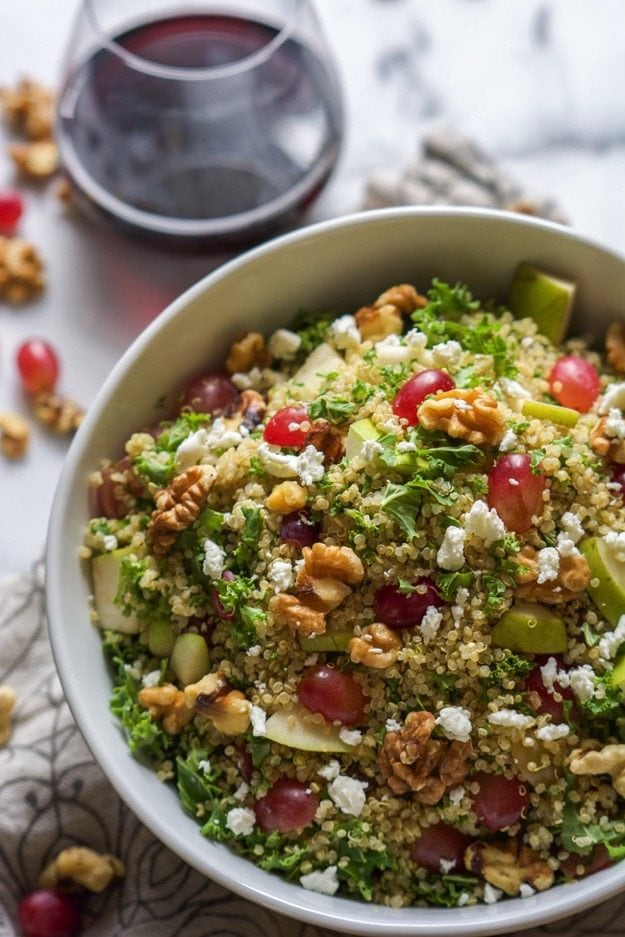 Kale Grape Walnut Quinoa Salad with White Balsamic Dressing