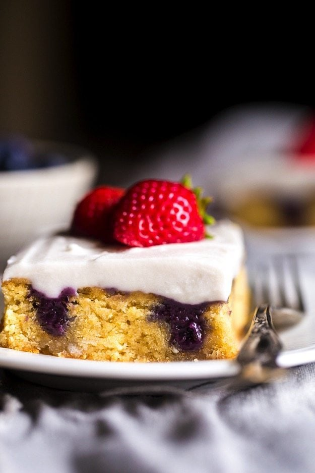 Red White Blueberry Paleo Poke Cake