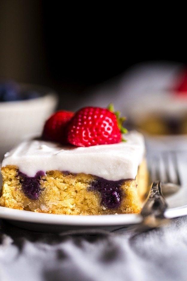 Red White Blueberry Paleo Poke Cake