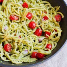 Rutabaga Pasta with a Creamy Pesto Sauce in a sauté pan.