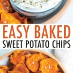 Two photos of plates of baked sweet potato chips sprinkled with flakey salt. A bowl of creamy dip is on the plate.