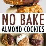 Two photos of no bake almond cookies. Cookie sheet lined with parchment paper. 9 no bake almond cookies half dipped in dark chocolate or white chocolate and sprinkled with cacao nibs. The other photo is of a stack of the no bake cookies.