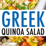 Bowl with Greek quinoa salad made with tomatoes, basil, red onion, feta, and quinoa. Mixing bowl with ingredients for the quinoa salad.