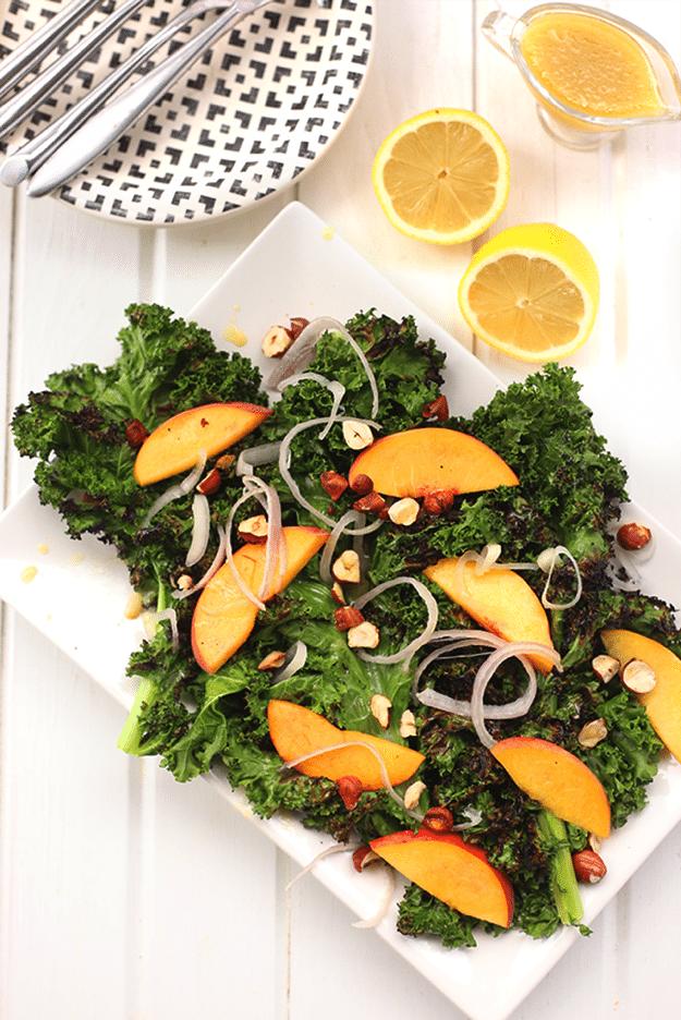 Grilled Kale Salad with Lemon Vinaigrette