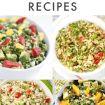 "Collage of quinoa salads in bowls, text above reads ""Healthy Quinoa Salad Recipes"""