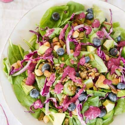 Antioxidant Salad with Blueberry Tahini Dressing