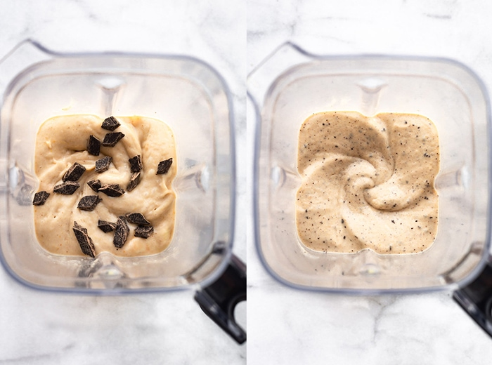 Blender side by side photo of the chocolate banana ice cream being blended with dark chocolate chunks.