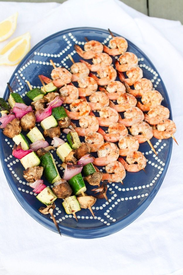 Healthy Grilled Lemon Pepper Shrimp Skewers