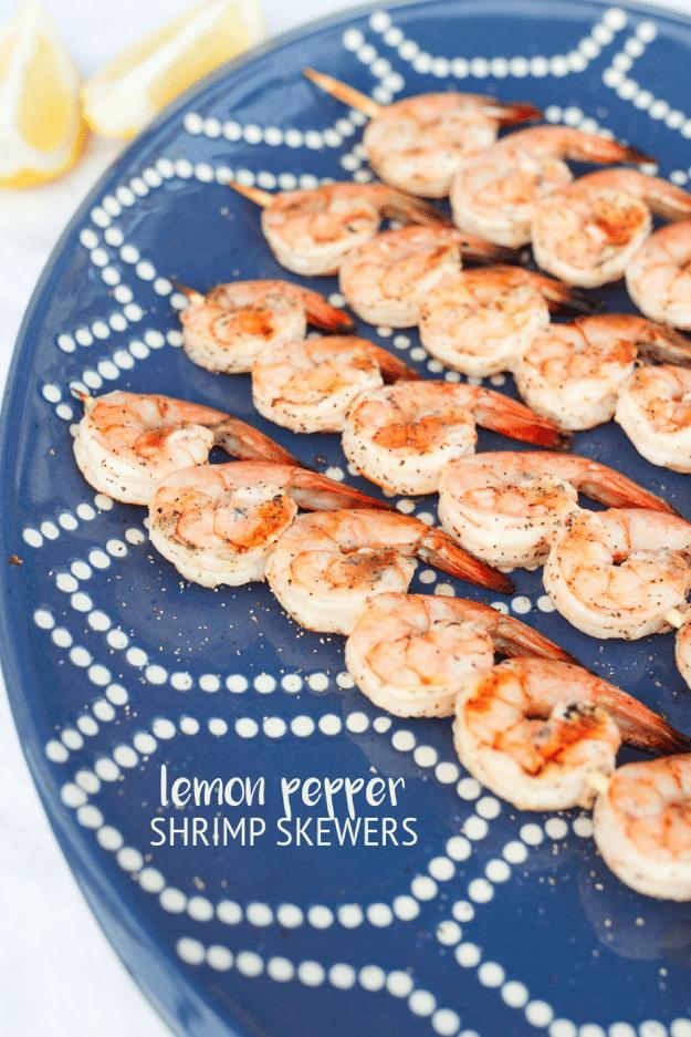 Healthy Grilled Lemon Pepper Shrimp Skewers