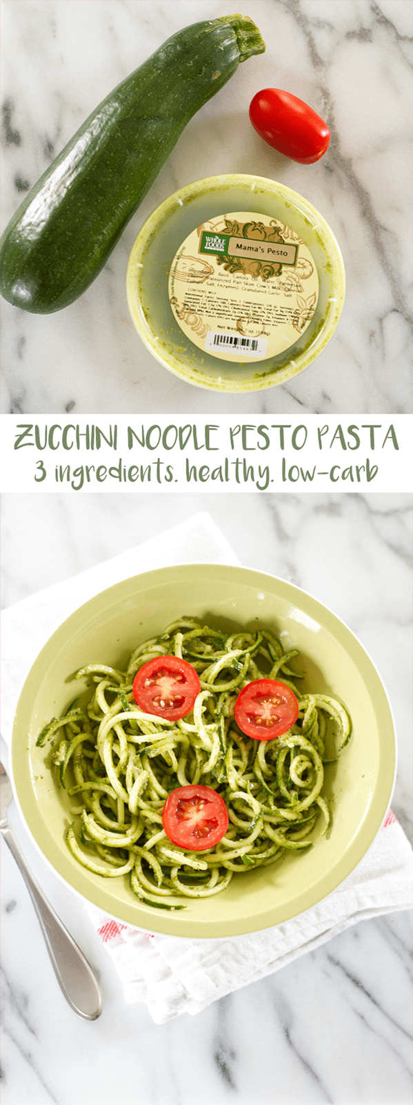 Zucchini Noodle Pesto Pasta // Only 3 ingredients, healthy, low carb and delicious!