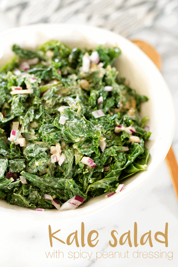 Tender kale with a rich and spicy peanut dressing and chopped red onion! This salad is packed with umami flavor and a fabulous side dish for almost any meal. #vegan #glutenfree