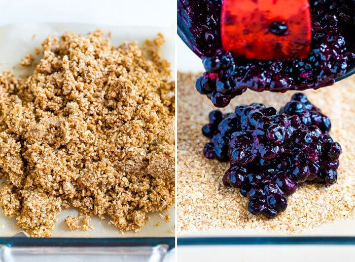 Side by side photos of the oat crumble for the bottom of the blueberry bars. The second photo is of a spatula spooning the blueberry mixture onto the crust.