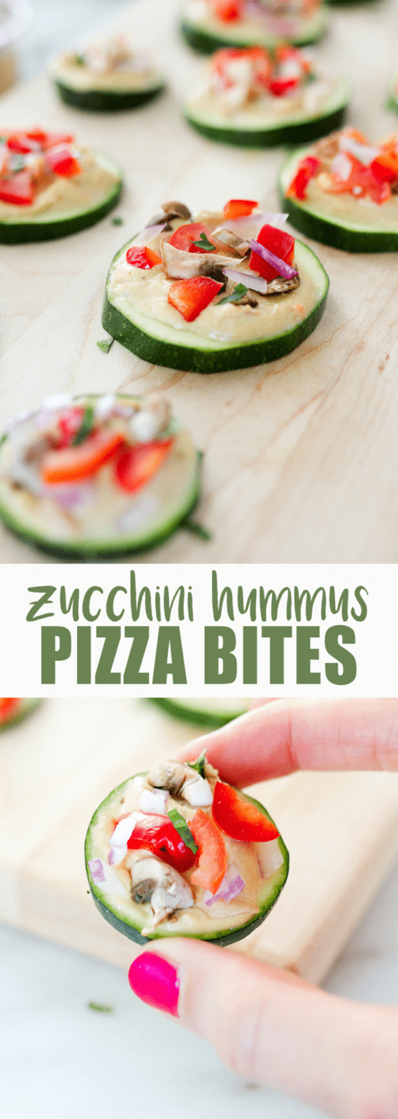 Mini Zucchini Hummus Pizza Bites -- Satisfy your pizza craving with these healthy mini zucchini pizza bites. Raw zucchini serves as the crust while hummus and fresh veggie toppings give the bites that pizza flavor you crave.