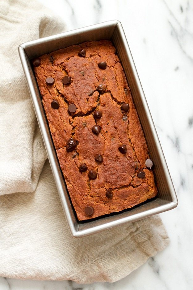 Spiced with cinnamon, nutmeg, ginger and allspice this moist and tender chocolate chip pumpkin bread is everything a pumpkin quick bread should be but a tad healthier, gluten-free and vegan.