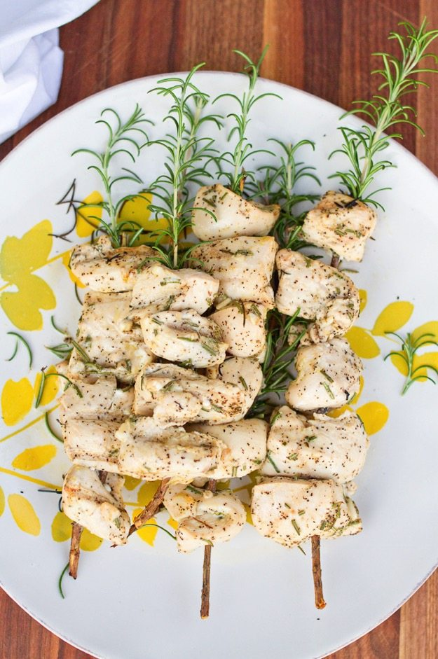 Clean Eating Grilled Rosemary Chicken Skewers