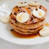Chocolate Chip Banana Cottage Cheese Protein Pancakes
