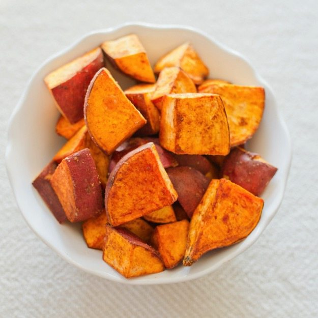 Coconut Oil Roasted Sweet Potatoes with Cinnamon, Sea Salt and Cayenne