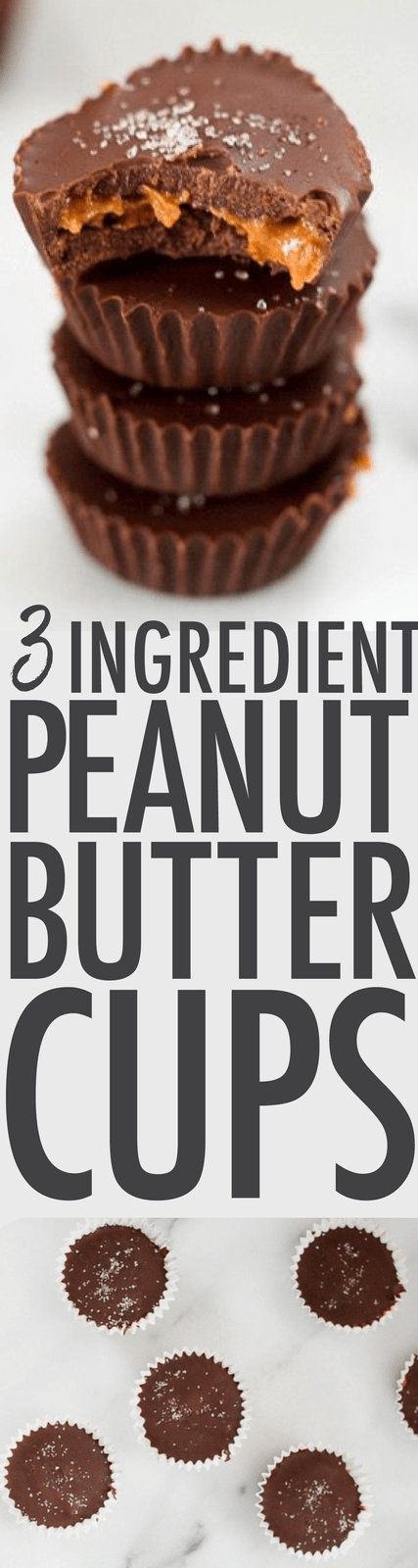 Homemade Peanut Butter Cups made with 3 simple ingredients