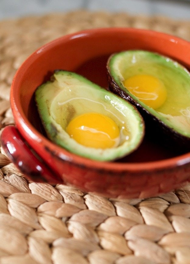 Baked Avocado Eggs (pre baking)