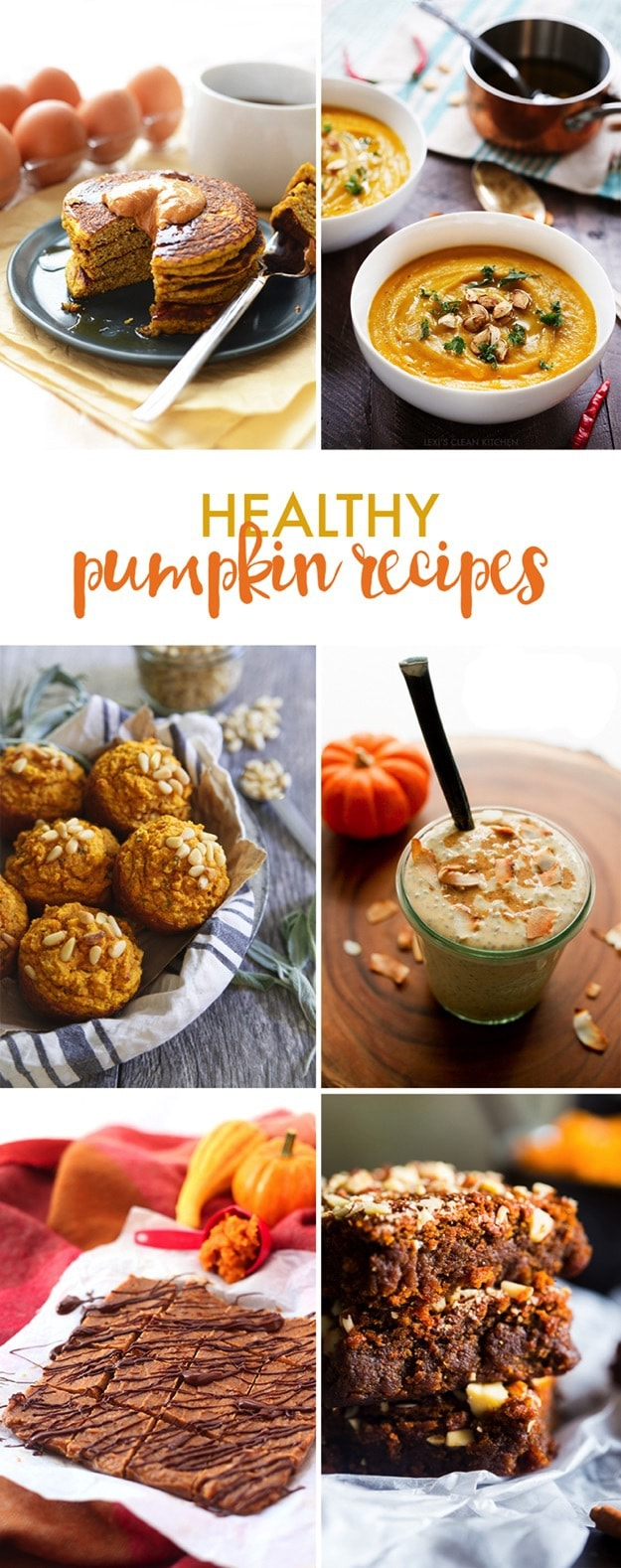Collage of healthy paleo pumpkin recipes.